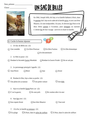"""Film """"Un sac de Billes"""" questionnaire"""