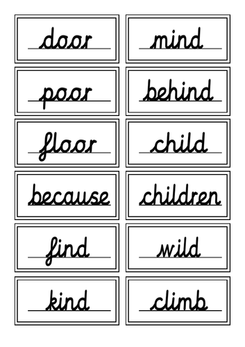 Year 2 English Common Exception Words & Handwriting Cursive Practise