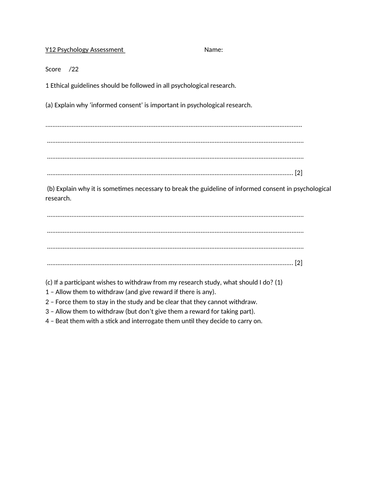 CIE (9990) Research Methods Assessment