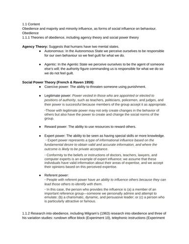 Unit 1 - Social Psychology Edexcel IAL