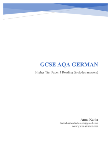 GCSE German Reading Higher Tier (Revision/Practice Test)