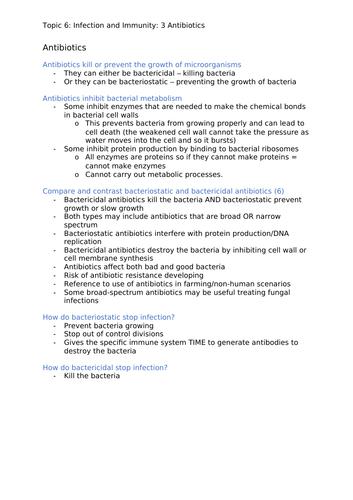 Edexcel A Level Biology A - Topic 6 - Antibiotics (3/3)