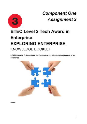 BTEC Level 2 Tech Award in Enterprise  EXPLORING ENTERPRISE Component One Assignment 3