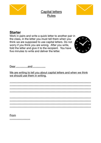 Capital letters introduction and review (whole interactive lesson for 60 minutes) English Language