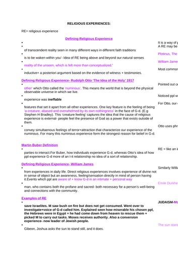 Religious Experience NOTES- OCR Religious Studies