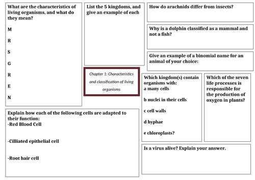 IGCSE Biology revision mats chapter 1-6