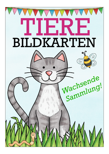 TIERE - Deutsch / German Flash Cards / Bildkarten Wortschatz / Vocabulary for beginners