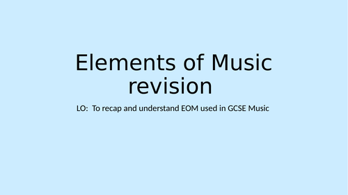 Elements of Music KS4 Revision