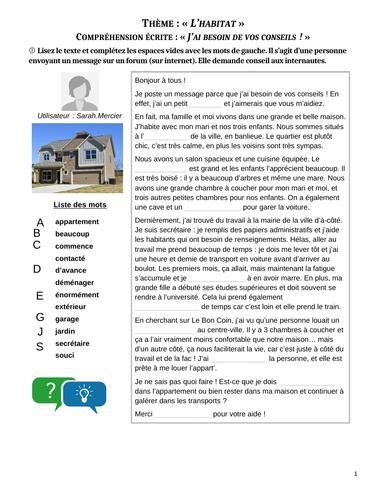 """Etude d'un message - Habitat et logement - """"Dois-je déménager ?"""" (4 exercises+answers)"""
