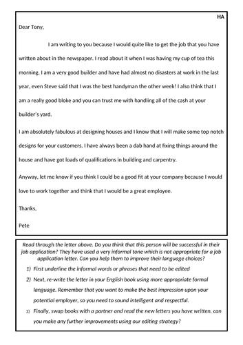 Persuasive Letter - Informal to formal - Y5