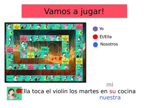 Spanish GAME to revise MUSICAL INSTRUMENTS + conjugation of verb 'to play'