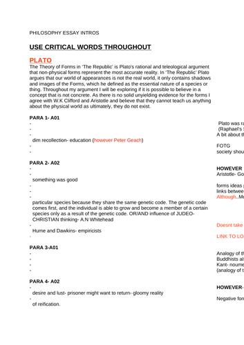Plato and Aristotle ESSAY PLANS- OCR Religious Studies