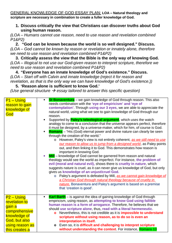 OCR A level Religious Studies - Knowledge of God DCT Essay Plan