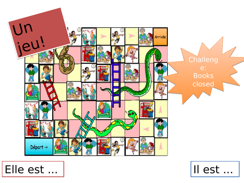 Fun FRENCH Snakes and ladders to revise ADJECTIVES (Expo1 - Je me présente)