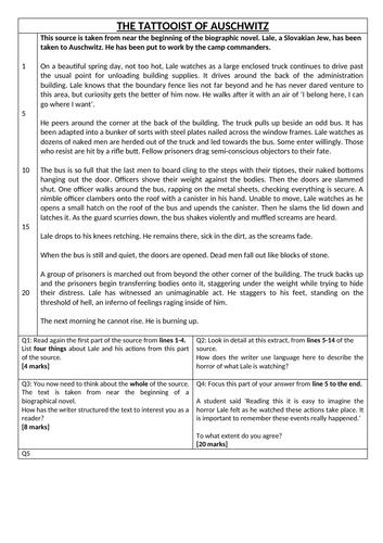 AQA Language Paper 1 - 8x mini mocks