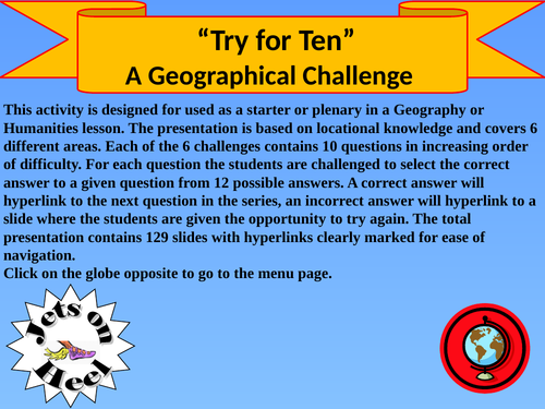 The Ultimate Geography Tenable Challenge