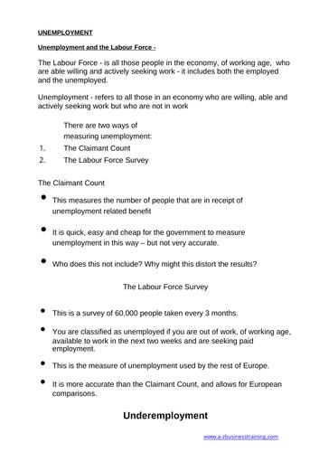Economics: Unemployment  (NEW SPEC) - Edexcel