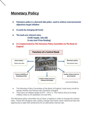 Economics: The Monetary Policy + Quantitative Easing (NEW SPEC) - Edexcel