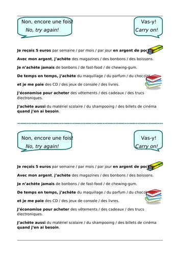 L'argent de poche - Pocket money - Year 7 - Year 8 - French