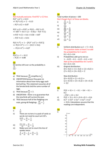 Probability (Y1) Worked Solutions (New A-Level)