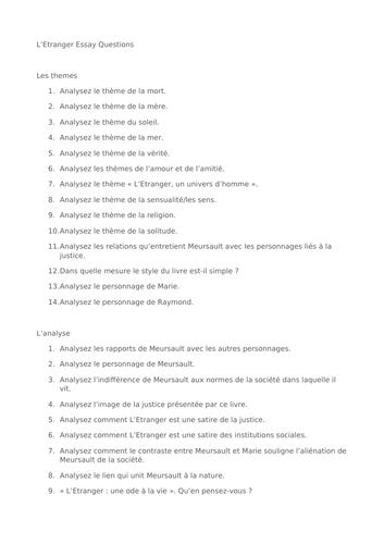 L'etranger A level French AQA Essay Questions