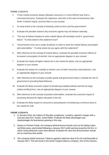 A level Edexcel Economics (new) Past Paper Questions