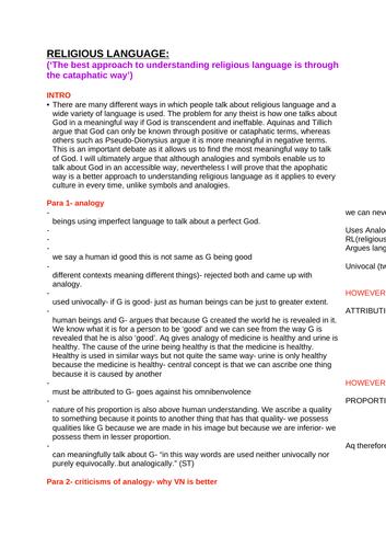 OCR RELIGIOUS STUDIES-Religious Language ESSAY PLANS