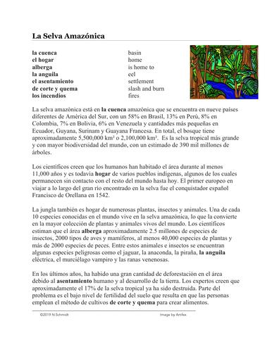 La Selva Amazónica Lectura y Cultura: Spanish Reading on Amazon Rainforest