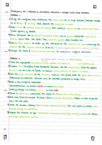 AQA A Level Chemistry Practical notes
