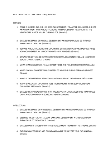 Health and Social Care - Unit 1 LAA practice questions