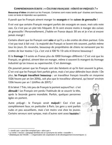 """""""Culture français : préjugés ou vérité ?"""" - Question prejudices about the French!"""