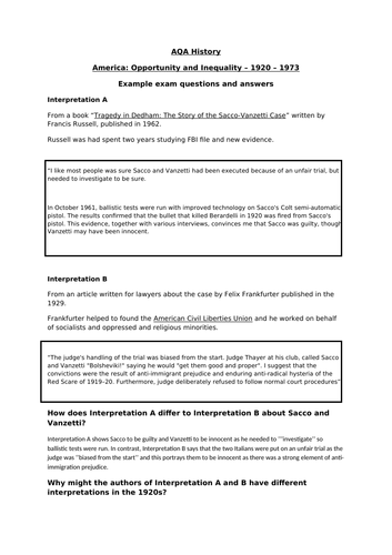 AQA: Sample Answers - America Opportunity and Inequality