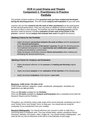 OCR A Level Drama and Theatre - Practitioners in Practice - PORTFOLIO Guidance Worksheet