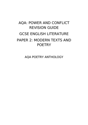 AQA: Power and Conflict Revision Guide