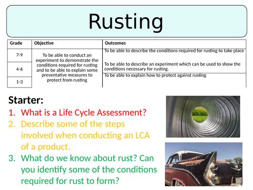 NEW AQA GCSE (2016) Chemistry  - Rusting