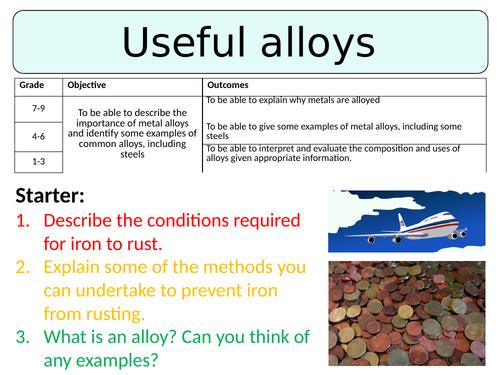 NEW AQA GCSE (2016) Chemistry  - Useful Alloys