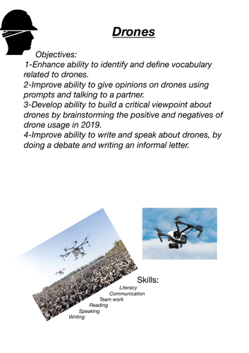 Drones, speaking, writing and vocabulary (IGCSE ESL, IELTS, EAL, ESL Key stage 3 English)