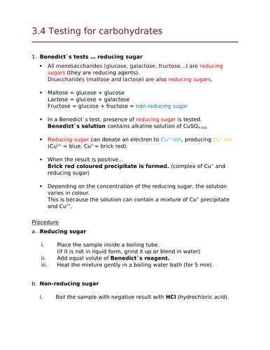 OCR Biology A Chapter 3 Lipids / Carbohydrate Test Summary (New Spec)