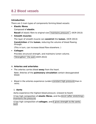 OCR Biology A Module 3 Blood vessel structure/O2, CO2 transport (New Spec)