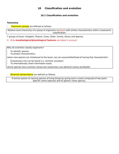 OCR Biology A Module 4 Classification and Evolution Ultimate Summary (New Spec)
