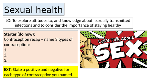 Sexual health - PSHE lesson KS3 / KS4