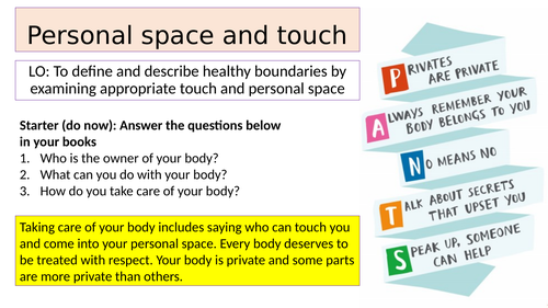 Personal space and inappropriate touch - KS3 PSHE lesson