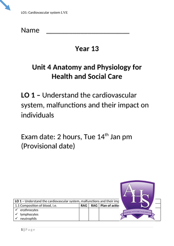 OCR Technical Health and Social Care Unit 4 LO1 (cardiovascular system)  knowledge book