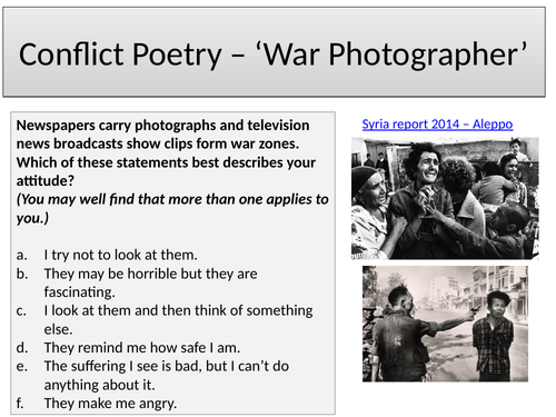 War Photographer - Duffy GCSE Conflict Poetry