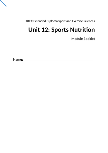 Unit 12 Sports Nutrition - my entire unit plans