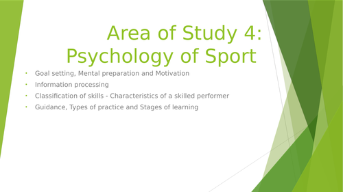 WJEC GCSE Area of Study 4 Psychology of Sport