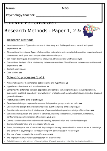 AQA Psychology A level Research Methods - complete workbook