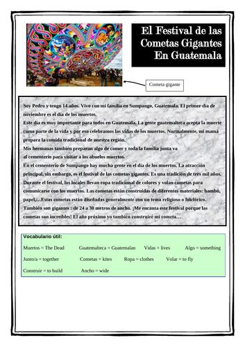 El Día de los Muertos -Reading - El festival de Sumpango - Guatemala - Spanish festivals - KS4