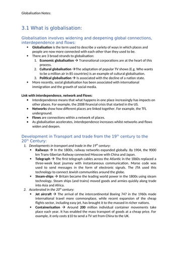 Globalisation  Notes - Edexcel A level Geography