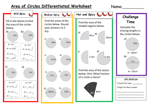 Area of Circles Differentiated Worksheet with Answers